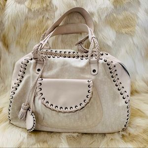 Christian DIOR Cream white logo satchel bag large